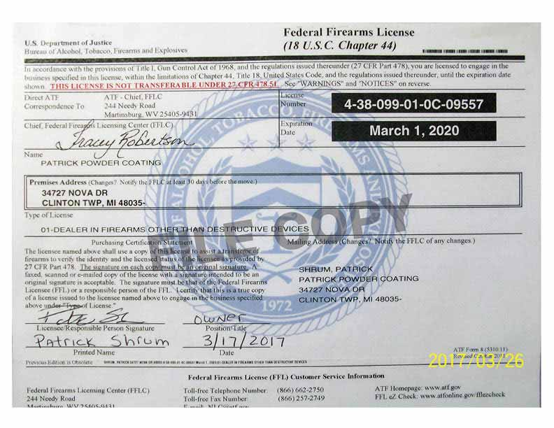 Copy of Federal Firearms License